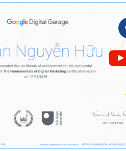 Chứng chỉ Marketing digital google nguyễn hữu nhân